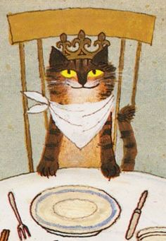 """Illustration by Alice and Martin Provenson for """"William Blake's Inn: Poems for Innocent and Experienced Travelers"""" by Nancy Williard """"Roast me a Wren to start with"""" says the King of Cats. ."""