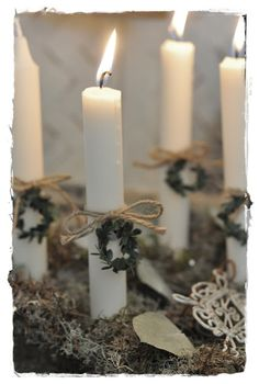 Advent Wreath idea - hang little crosses instead of wreaths