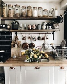 This homy style brings a friendly and inviting atmosphere to any home. Doesn't matter you live in the town or countryside, you owe big or small kitchen, you can create really unique and welcoming rustic kitchen design. Rustic Kitchen Decor, Home Decor Kitchen, Diy Kitchen, Kitchen Interior, Home Kitchens, Kitchen Dining, Kitchen Ideas, Rustic Kitchens, Kitchen Jars