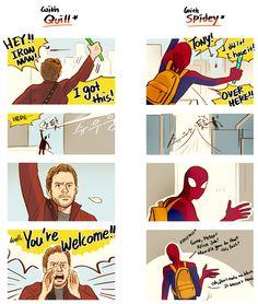 Tony with Quill n Spidey by Hallpen.deviantart.com on @DeviantArt