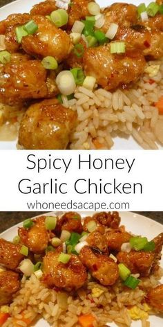 Spicy Honey Garlic Chicken - Who Needs A Cape? Who needs carry-out when you can make this delicious restaurant quality meal at home! Spicy Honey Garlic Chicken is comfort food that the whole family can enjoy! Spicy Recipes, Asian Recipes, Cooking Recipes, Healthy Recipes, Asian Chicken Recipes, Oriental Recipes, Oriental Food, Cooking Bacon, Cooking Wine