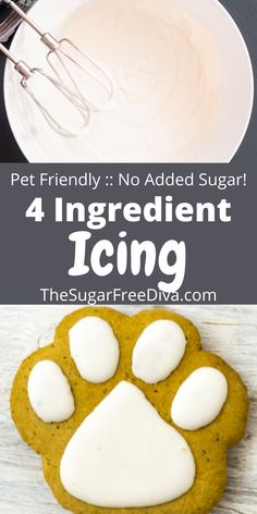 Making this easy recipe for icing that is pet friendly. No added sugar this dessert recipe is perfect for holiday baking and decorating cookies, dog and pet biscuits, and other baked goods! Frozen Desserts, No Bake Desserts, Easy Desserts, Homemade Biscuits, Homemade Dog Treats, Dog Treat Recipes, Cookie Recipes, Trifle Pudding, Dog Cookies