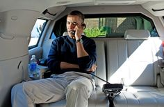 President making a call in a Secret Service heavily armored VVIP Suburban