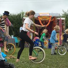 learning the unicycle at Yoga Camp The Macs Farm Ditchling
