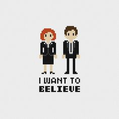 The X-Files I Want to Believe (Fox Mulder, Dana Scully) inspired cross stitch pattern PDF instant download includes: Full color, easy-to-read
