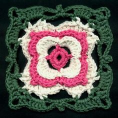 Dogwood Blossom Motif Design by Dot Drake - free pattern Crochet Squares Afghan, Crochet Motifs, Crochet Blocks, Crochet Stitches Patterns, Crochet Granny, Granny Squares, Blanket Crochet, Crochet Crafts, Yarn Crafts