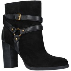 UGG Dandridge Block Heeled Ankle Boots (£99) ❤ liked on Polyvore featuring shoes, boots, ankle booties, block heel ankle boots, flat ankle boots, leather bootie, high heel ankle boots and ankle boots
