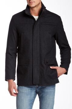 Wool Blend Funnel Neck Car Coat by Kenneth Cole New York on @nordstrom_rack