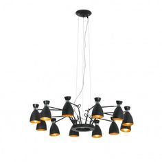 FARO Retro pendant lamp 12l black and gold