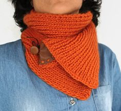 Pure 100% merino wool winter neckwarmer, hand knit chunky cowl infinity scarf in warm orange color.  Best friend in cool or cold wheathers, this cozy