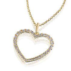 Averdin Collier mit grossem Herz aus Messing 40 Zirkonia im Universal Online Shop Gold Necklace, Pendant Necklace, Messing, Diamond, Jewelry, Medium, Fashion, Necklaces, Morning Of Wedding