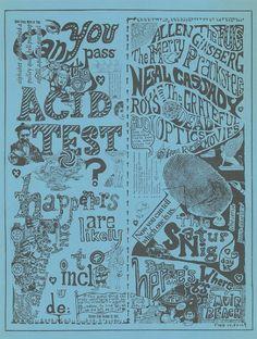 "The Fugs, The Grateful Dead, Allen Ginsberg, Can You Pass the Acid Test ? Paul Foster ""Acid Test"" Concert Poster for Muir Beach Dec. 11, 1965"