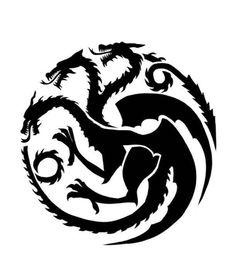 Game of Thrones - House Targaryen Sigil Stencil targaryen tattoo Game Of Thrones Tattoo, Tatuagem Game Of Thrones, Game Of Thrones Dragons, Game Of Thrones Sigils, Dragon Tattoo For Women, Dragon Tattoo Designs, Pumpkin Carving Games, Casa Targaryen, House Stark Sigil