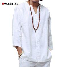 Buy Chinese style linen shirt Plus size men casual Breathable white soft three quarter shirt Camisa masculina hot sale White Linen Shirt, White Shirts, Linen Shirts, Fashion Casual, Men Casual, Fashion Women, Costume Blanc, Beach Shirts, Shirt Price