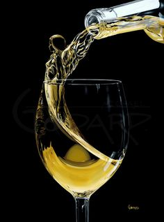 "Pouring Wine Art - ""Wine Angel"" by Michael Godard. #women&wine #inWine #glass #cBlack #cYellow"