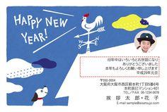 風見鶏のある家への小さな憧れ。小さく写真を1枚入れることができます。 #年賀状 #デザイン #酉年