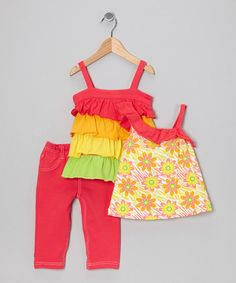 Take a look at this Coral Floral Tunic Set - Toddler by Real Love on #zulily today!