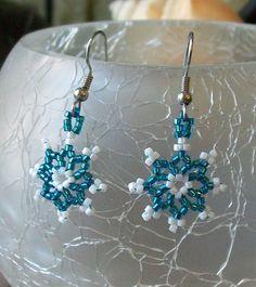 Snowflake Beaded Earrings. $7.50, via Etsy.