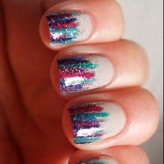 glitter stripe nails
