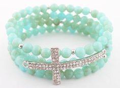 Ladies Turquoise with Silver Iced Out Sideways Cross Style Beaded Stretch Bundle Bracelet