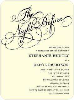 The Night Before Rehearsal Dinner Invitation