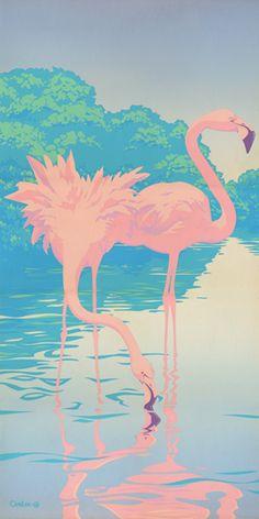 Two Pink Flamingos Retro Florida Landscape Painting, Prints