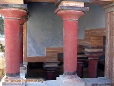 Minoan Empire Palace of Knossos, Crete - Greece.  Note reversed columns (larger at top).