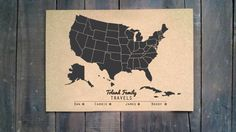 Cork Push Pin FAMILY Travel Map CUSTOMIZED with by RasurePrintsLLC