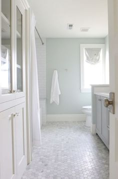 Sherwin Williams Sea Salt in a bathroom with marble hexagon tile floor, natural light and white subway tile