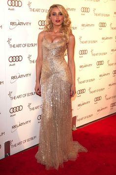 Amber Heard at the 2012 Art of Elysium Heaven Gala wearing a Donna Karan gown