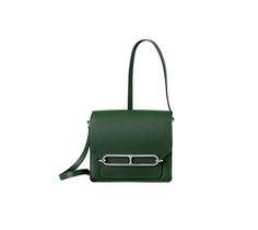 """Roulis Hermes shoulder bag in evercolor calfskin (size Mini) Measures 7"""" x 6"""" x 2.5"""" Palladium plated hardware, inside pocket with compartments, flat back pocket and adjustable strap. Color : English green"""