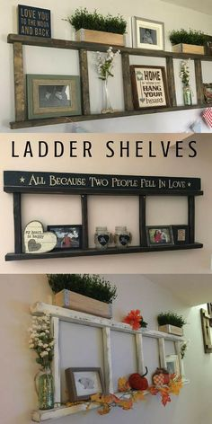 ladder shelves, so perfect for farmhouse, rustic, primitive style home decorating. I like the top one the best for bedroom. #laddershelf #primitivehomedecor #farmhousedecor #diyshelves #ad