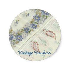 Vintage Hankies Stickers #paisley #handkerchief #vintage #daisy