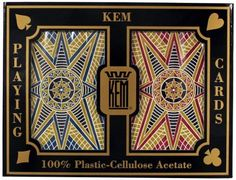 """Kem Bridge Size Casino Club Stargazer Setup Playing Cards (Maroon/Blue) by KEM. $29.77. Kem Plastic Playing Cards is a 60-year-old company specializing in one product—playing cards which are 100% cellulose acetate plastic. Kem plastic playing cards contain no vinyl, which is the raw material used by all other playing card manufacturers for their """"plastic"""" playing cards.A set-up consists of one blue deck and one maroon deck with regular index set-up. The cards come ..."""