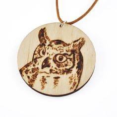 Pyrography owl necklace pendant woodburned jewelry wood burning technique wooden round custom jewelry