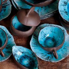 Сервизы, чайные пары ручной работы. Ярмарка Мастеров - ручная работа. Купить сервиз шоколад и бирюза. Handmade. Бирюзовый