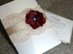 Lace Pocketfold Invitation - Wine Red and Champagne Wedding -  Our wedding Invitations for guests