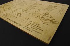 Laser engraved menu by Rein Aardse, via Behance