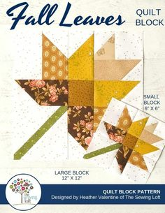 Fall Leaves Quilt Block Pattern - PDF Includes instructions for 6 inch and 12 inch Finished Blocks Paper Piecing Patterns, Quilt Block Patterns, Pattern Blocks, Embroidery Designs, Quilting Designs, Quilt Festival, Nine Patch, Vintage Star, Fall Quilts