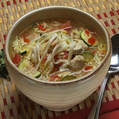 Hearty Chicken Vegetable Soup Recipe Soups with lipton soup secret noodl soup mix with real chicken broth, water, tomatoes, boneless skinless chicken breast halves, dri oregano leaves, crush, garlic powder, zucchini, shredded mozzarella cheese