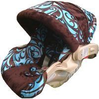 Blue/Brown Swirl Custom Infant Car Seat Cover