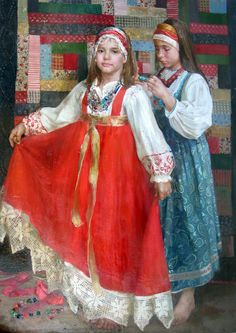 Russian costume in painting. Natasha Milashevich. Folk Costume. 2000 - 2010. #art #painting #Russian #costume