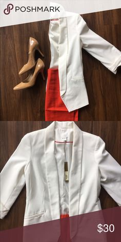 White blazer Perfect fit and goes great with your summer work wardrobe. Very slight discoloration underneath the  edge LC Lauren Conrad Jackets & Coats Blazers
