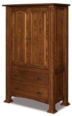 Amish Lexington Two Drawer Armoire Enjoy the beauty of an armoire as part of your bedroom collection. The Lexington has a regal air and comes dressed in your choice of wood and finish. Includes adjustable shelves, raised panels and solid wood beauty. Amish made in America. #woodarmoires #bedroomstorage #Amishbedroomfurniture