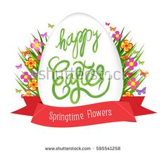 Easter egg poster with label. Springtime flowers