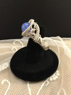 Blue Lace Agate wire weave wrapped fine silver cocktail ring.