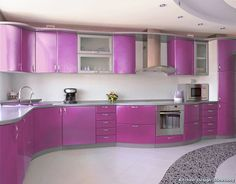 of the Day: Light metallic purple cabinets and a curved layout give this familiar modern kitchen design a playful feel. (Kitchen-Design-Id. Purple Kitchen Designs, Kitchen Designs Photo Gallery, Modern Kitchen Design, Interior Design Kitchen, Modern Interior, Purple Kitchen Cabinets, Kitchen Cabinet Colors, Kitchen Colors, Kitchen Counters