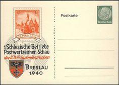 """Germany, German Empire, Deutsches Reich 1940, 6 Pfg.-GA-Privatpostkarte """"1. Schlesische Betriebs-Postwertzeichen-Schau der KDF-Sammlergruppen"""", in Breslau, ungebraucht (Mi.-Nr.PP127 C48). Price Estimate (8/2016): 10 EUR. Unsold."""