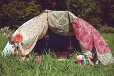 Boom - - just got an idea for how to glamp up my dome tents.