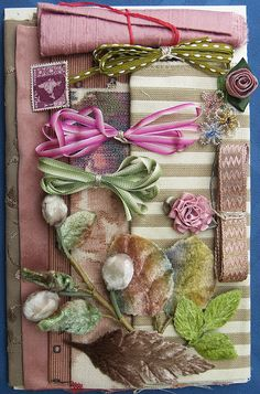 Fabric & Trim Assortment . Mauve and Green . niftythriftydrygoods.com